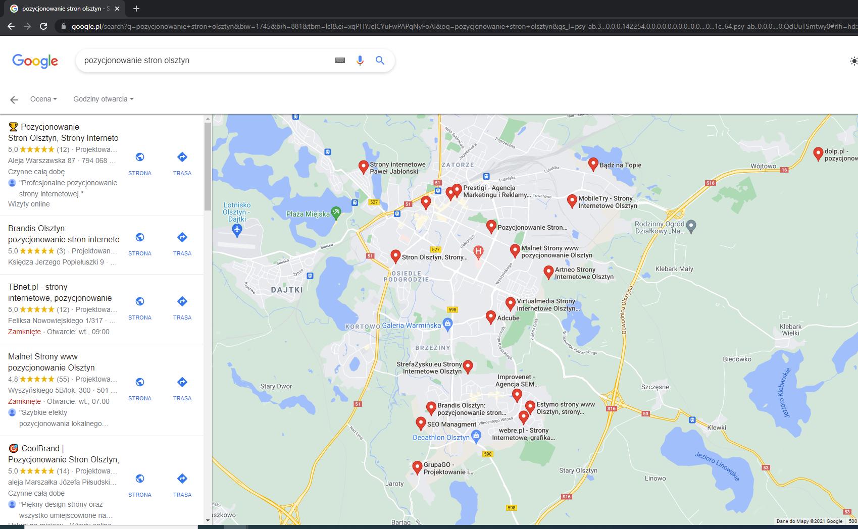 pozycjonowanie wizytówek google moja firma olsztyn